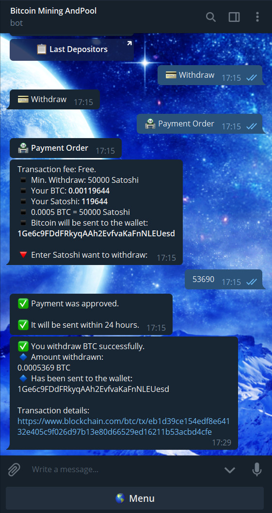 Closed - Bitcoin Mining AndPool (Telegram Bot) Reviews: SCAM