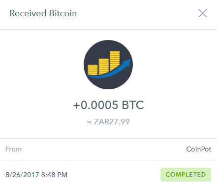 PROOF - 5th Payment from CoinPot received - 50 000 Satoshi ...